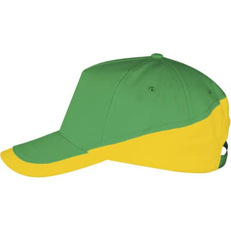 5 Panels Contrasted Cap Booster in Kelly Green|Gold von SOL´S (Artnum: LC00595