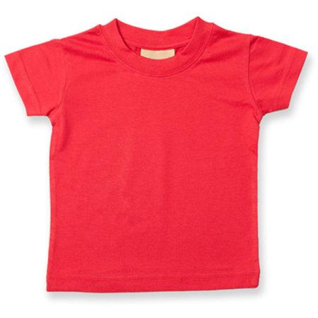 Baby-Kids` Crew Neck T-Shirt in Red von Larkwood (Artnum: LW020