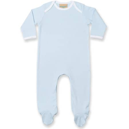 Contrast Long Sleeved Sleepsuit in Pale Blue|White von Larkwood (Artnum: LW053