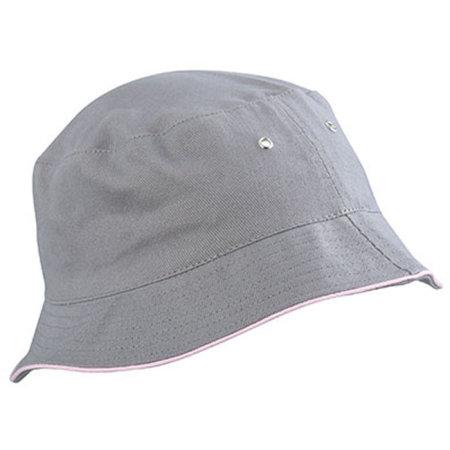 Fisherman Piping Hat in Grey|Light Rosa von myrtle beach (Artnum: MB012