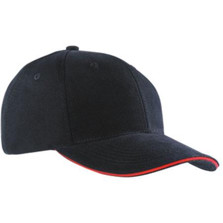 6-Panel Sandwich Cap in Black|Red von myrtle beach (Artnum: MB024