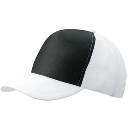 5-Panel Polyester Mesh Cap in Black|White von myrtle beach (Artnum: MB070