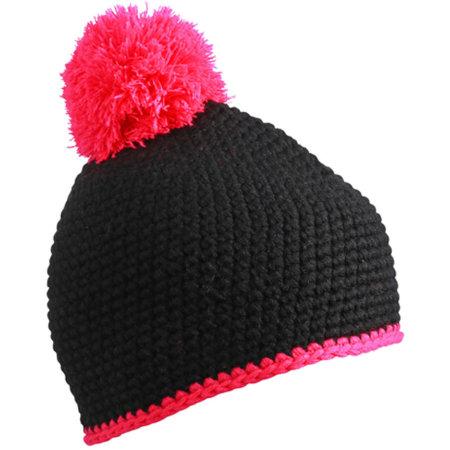 Pompon Hat with Contrast Stripe in Black|Pink von myrtle beach (Artnum: MB7964