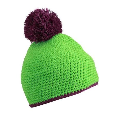Pompon Hat with Contrast Stripe von myrtle beach (Artnum: MB7964