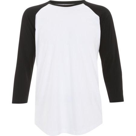 Unisex Baseball T-Shirt in White|Black von Continental Clothing (Artnum: N22