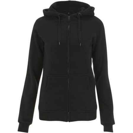 Women`s High Neck Zip Up Hoody in Black von Continental Clothing (Artnum: N54Z