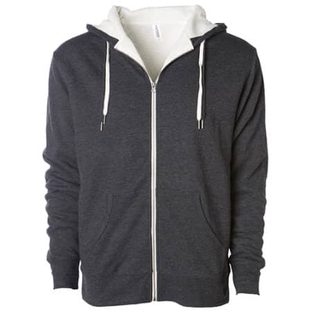 Unisex Sherpa Lined Zip Hooded Jacket in Charcoal Heather|Natural von Independent (Artnum: NP352