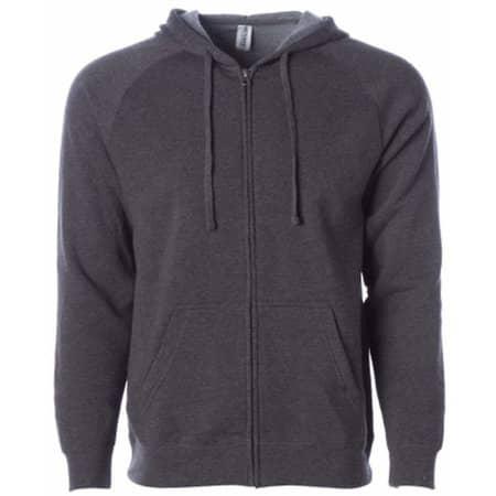 Unisex Midweight Special Blend Raglan Zip Hood in Carbon von Independent (Artnum: NP355
