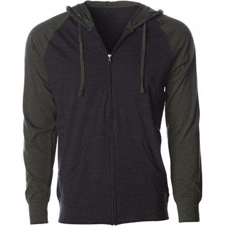 Men`s Lightweight Jersey Raglan Zip Hood in Charcoal Heather|Army Heather von Independent (Artnum: NP356