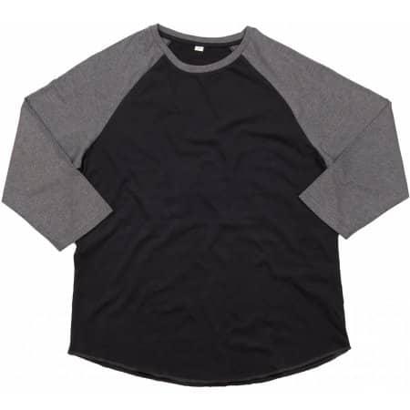Men`s Superstar Baseball T in Black Charcoal Grey Melange von Mantis (Artnum: P88