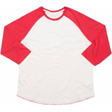Men`s Superstar Baseball T in Washed White|Warm Red von Mantis (Artnum: P88