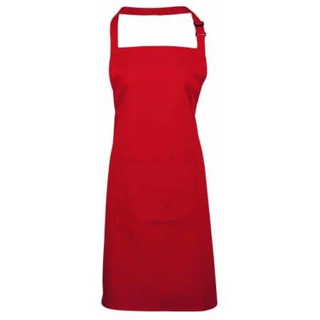 Colours Bib Apron With Pocket in Red (ca. Pantone 200) von Premier Workwear (Artnum: PW154