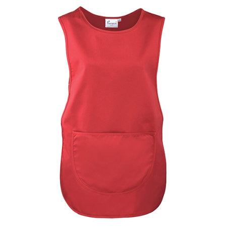 Women`s Pocket Tabard in Red (ca. Pantone 200) von Premier Workwear (Artnum: PW171