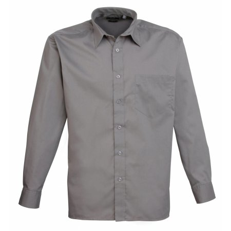 Poplin Long Sleeve Shirt (Herrenhemd/Langarm) in Dark Grey von Premier Workwear (Artnum: PW200