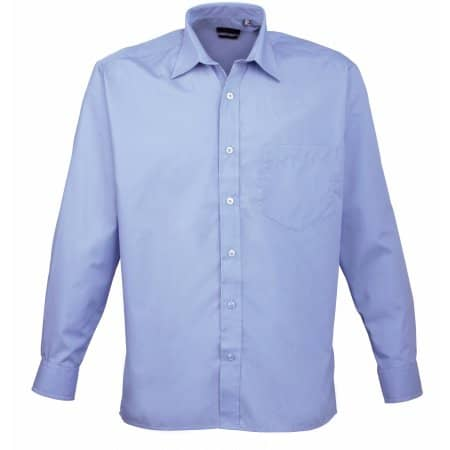 Poplin Long Sleeve Shirt (Herrenhemd/Langarm) in Mid Blue von Premier Workwear (Artnum: PW200