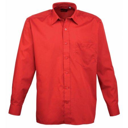 Poplin Long Sleeve Shirt (Herrenhemd/Langarm) in Red von Premier Workwear (Artnum: PW200