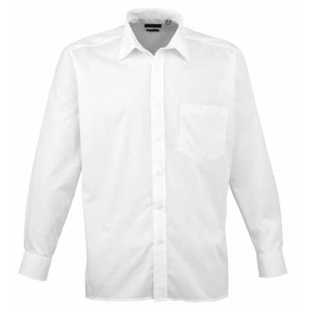 Poplin Long Sleeve Shirt (Herrenhemd/Langarm) in White von Premier Workwear (Artnum: PW200