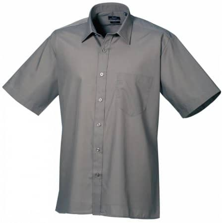 Poplin Short Sleeve Shirt (Herrenhemd/Kurzarm) in Dark Grey von Premier Workwear (Artnum: PW202