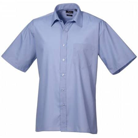 Poplin Short Sleeve Shirt (Herrenhemd/Kurzarm) in Mid Blue von Premier Workwear (Artnum: PW202