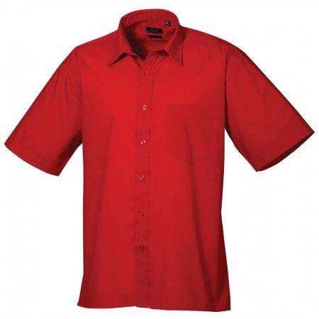 Poplin Short Sleeve Shirt (Herrenhemd/Kurzarm) in Red von Premier Workwear (Artnum: PW202