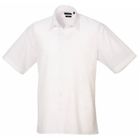 Poplin Short Sleeve Shirt (Herrenhemd/Kurzarm) in White von Premier Workwear (Artnum: PW202