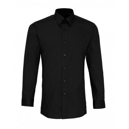 Men`s Long Sleeve Fitted Poplin Shirt in Black von Premier Workwear (Artnum: PW204