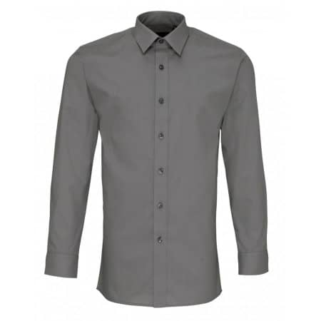Men`s Long Sleeve Fitted Poplin Shirt in Dark Grey von Premier Workwear (Artnum: PW204