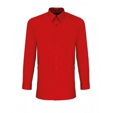 Men`s Long Sleeve Fitted Poplin Shirt in Red von Premier Workwear (Artnum: PW204
