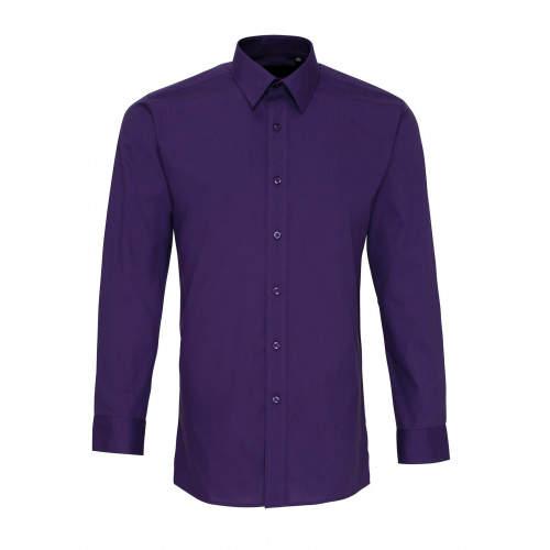 Premier Workwear - Men`s Long Sleeve Fitted Poplin Shirt