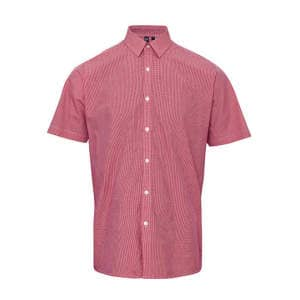 Men`s Microcheck (Gingham) Short Sleeve Shirt Cotton
