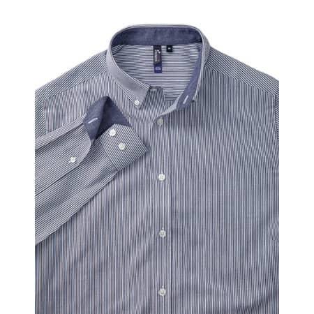 Mens Cotton Rich Oxford Stripes Shirt in White Grey (ca. Pantone 430c) von Premier Workwear (Artnum: PW238