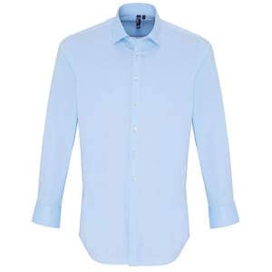 Mens Stretch Fit Poplin Long Sleeve Cotton Shirt