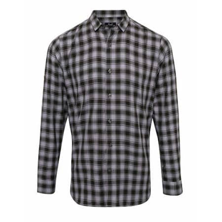 Men`s Mulligan Check Cotton Long Sleeve Shirt in Steel|Black von Premier Workwear (Artnum: PW250