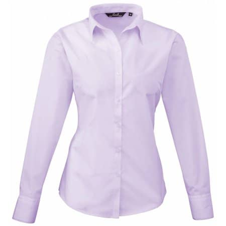 Ladies` Poplin Long Sleeve Blouse in Lilac von Premier Workwear (Artnum: PW300