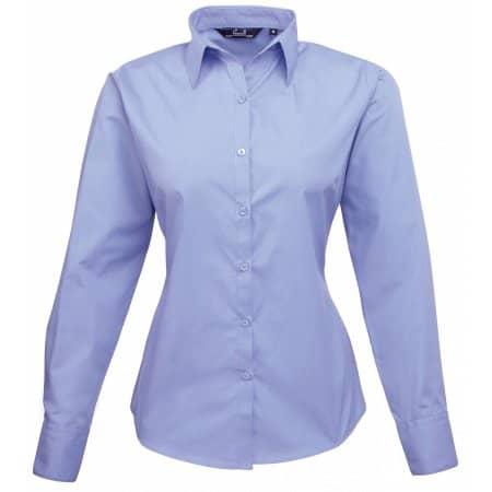 Ladies` Poplin Long Sleeve Blouse in Mid Blue von Premier Workwear (Artnum: PW300