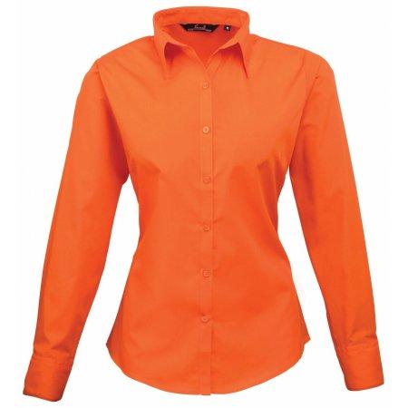 Ladies` Poplin Long Sleeve Blouse in Orange von Premier Workwear (Artnum: PW300