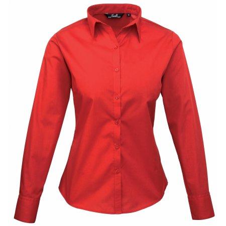 Ladies` Poplin Long Sleeve Blouse in Red von Premier Workwear (Artnum: PW300