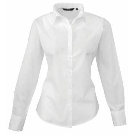 Ladies` Poplin Long Sleeve Blouse in White von Premier Workwear (Artnum: PW300