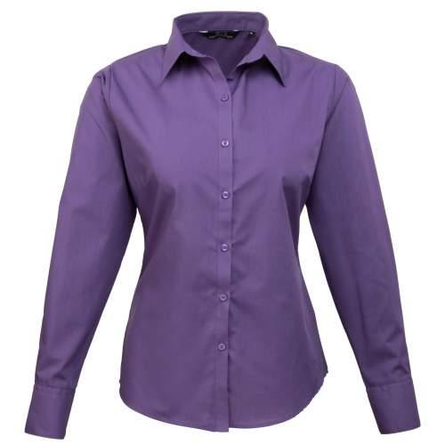 Premier Workwear - Ladies` Poplin Long Sleeve Blouse
