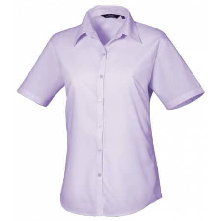 Ladies` Poplin Short Sleeve Blouse in Lilac von Premier Workwear (Artnum: PW302