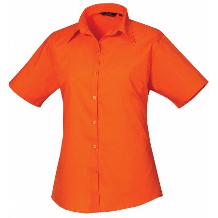 Ladies` Poplin Short Sleeve Blouse in Orange von Premier Workwear (Artnum: PW302