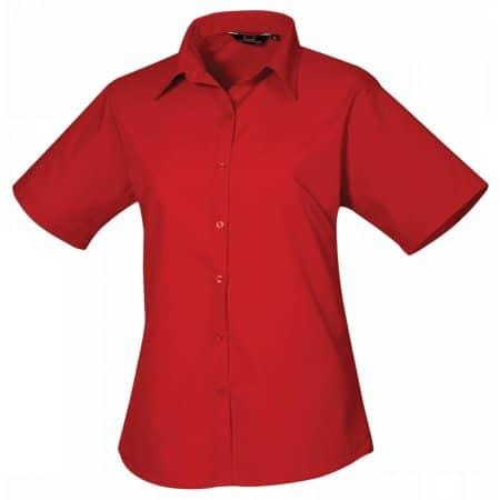 Ladies` Poplin Short Sleeve Blouse in Red von Premier Workwear (Artnum: PW302