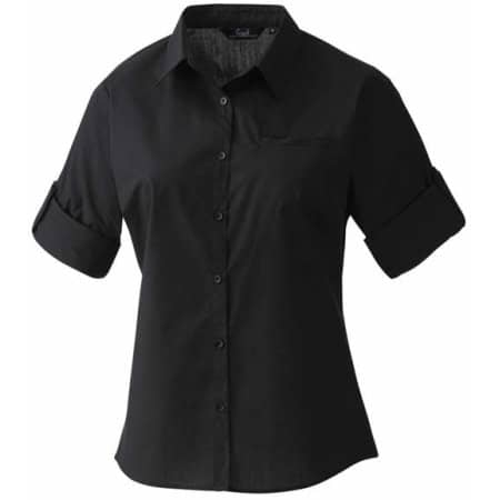 Ladies` Roll-Sleeve´ Poplin-Bluse von Premier Workwear (Artnum: PW306