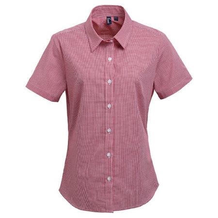 Ladies` Microcheck (Gingham) Short Sleeve Shirt Cotton in Red|White von Premier Workwear (Artnum: PW321