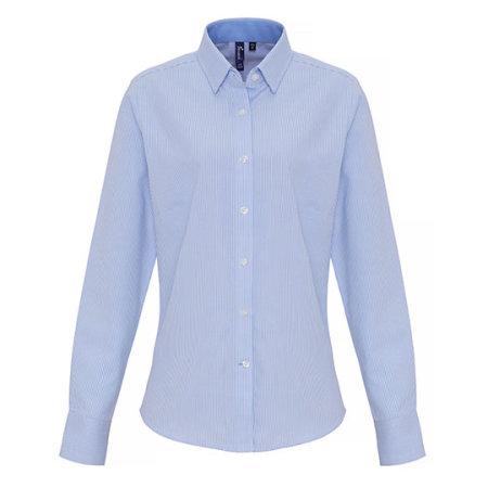 Ladies Cotton Rich Oxford Stripes Shirt in White|Grey (ca. Pantone 430c) von Premier Workwear (Artnum: PW338