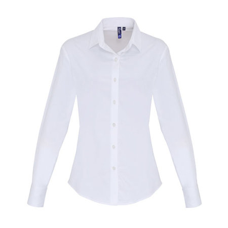 Ladies Stretch Fit Cotton Poplin Long Sleeve Shirt in White von Premier Workwear (Artnum: PW344