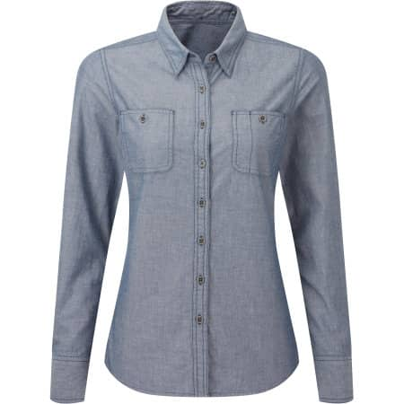 Women`s Organic Chambray Fairtrade Long Sleeve Shirt von Premier Workwear (Artnum: PW347
