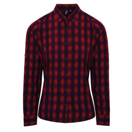 Ladies` Mulligan Check Cotton Long Sleeve Shirt in Red|Navy von Premier Workwear (Artnum: PW350