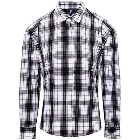 Ginmill Check Womens Long Sleeve Cotton Shirt in Black White von Premier Workwear (Artnum: PW354