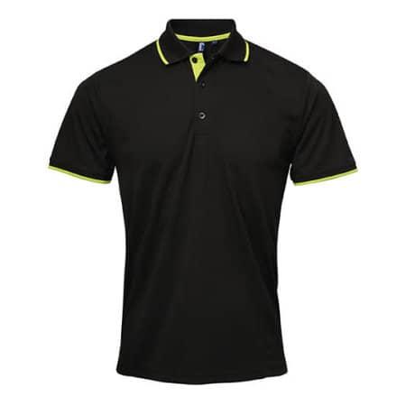 Men`s Contrast Coolchecker Polo in Black|Lime (ca. Pantone 382) von Premier Workwear (Artnum: PW618